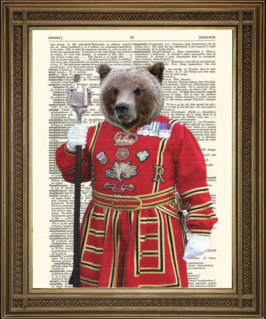BEEFEATER BEAR: Tower of London Guard Dictionary Print - Print Arcade USA