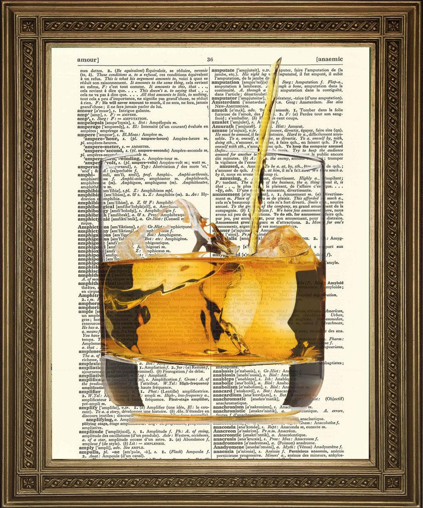 WHISKY DRINK: Alcohol Dictionary Buchseite Art - Print Arcade USA