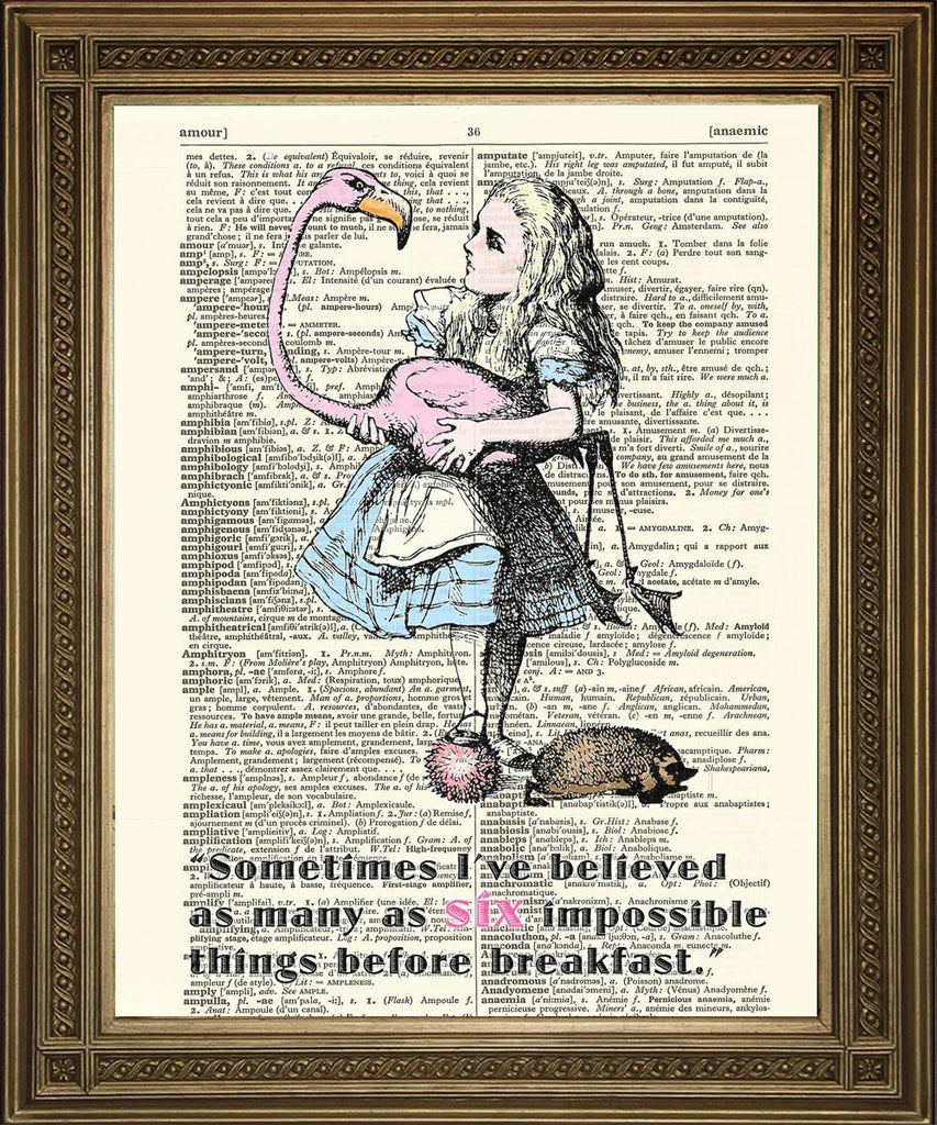 SIX IMPOSSIBLE THINGS: Alice in Wonderland Dictionary Art Print - Print Arcade USA