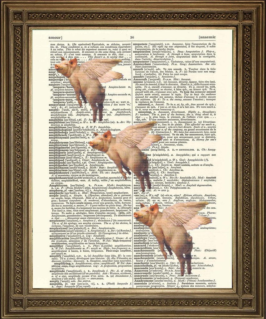 PIGS MIGHT FLY: Diccionario Art Print, Flying Pink Pigs - Print Arcade USA