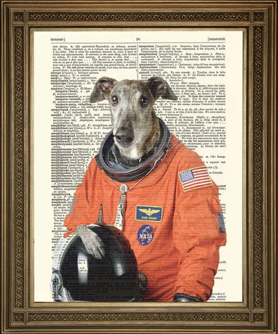 STAMPA ASTRONAUT DOG: Space Canine Dictionary Art - Print Arcade USA