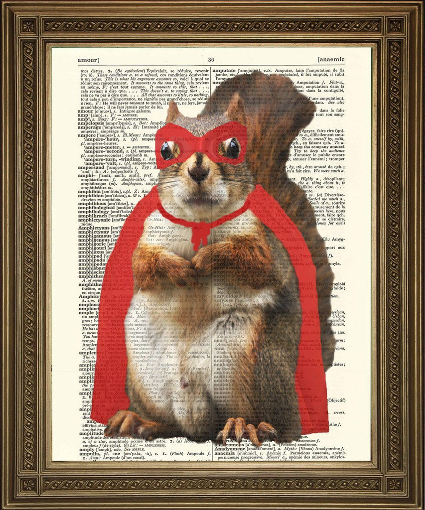 SUPERHERO SQUIRREL: Fun Animal Dictionary Art Print - The Print Arcade