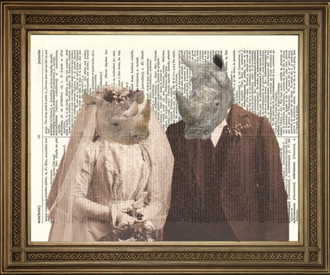 RHINO HOCHZEITSDRUCK: Vintage Animal Marriage Dictionary Kunst - Print Arcade USA