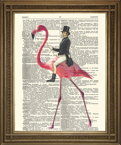 MAN RIDING FLAMINGO: Victorian on Pink Bird Dictionary Print - Print Arcade USA