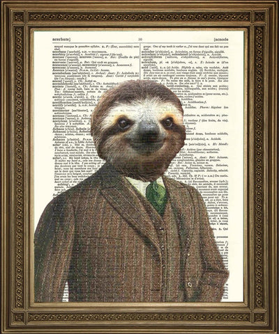 SLOTH ART PRINT: Fun Animal in Suit Dictionary Art - The Print Arcade