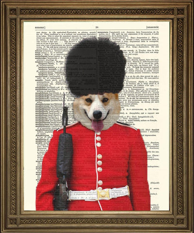 QUEEN'S CORGI GUARD: Buckingham Palace Dictionary Kunstdruk - The Print Arcade