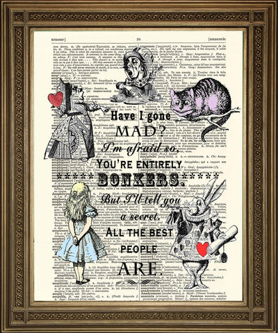 HAVE I GONE MAD: Alice in Wonderland Bonkers Dictionary Print - Print Arcade USA