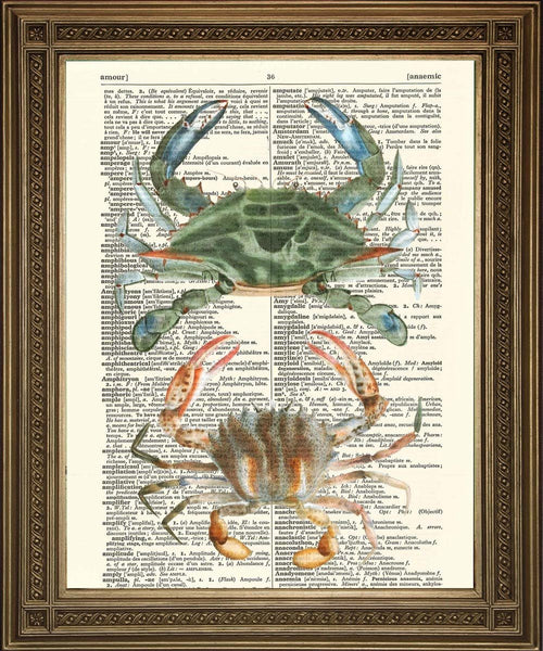 CRAB ART: Vintage Dictionary Print Wall Hanging - Afdrukken Arcade USA