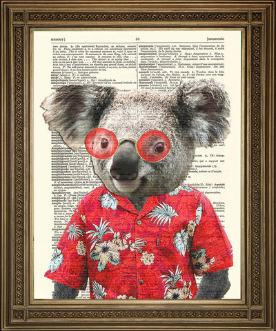 KOALA BEAR PRINT: Fun Animal Art on Dictionary Page - The Print Arcade