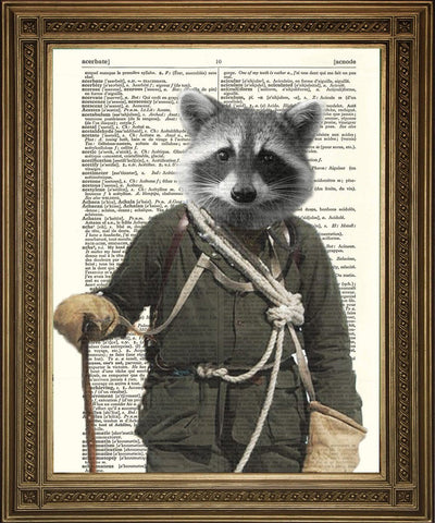 STAMPA RACCOON ROCKY: Vintage Dictionary Page Art - The Print Arcade