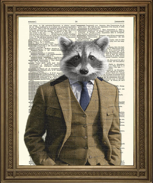 ROCKY RACCOON PRINT: Vintage Dictionary Page Art - The Print Arcade