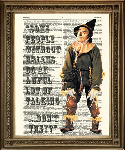 SCARECROW BRAIN: Wizard of Oz Dictionary Print Art - Print Arcade USA