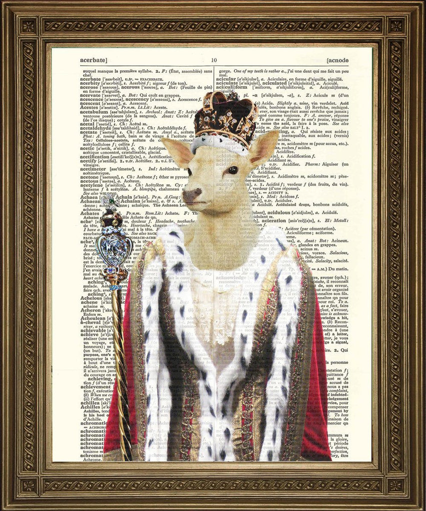 ROYAL DEER PRINT: White Hart Queen Dictionary Art Wallhanging - The Print Arcade