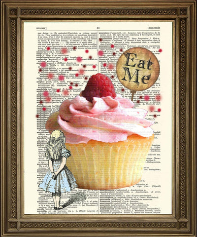 ALICE 'EAT ME' PRINT: Alice in Wonderland Cake Dictionary Art - Print Arcade USA