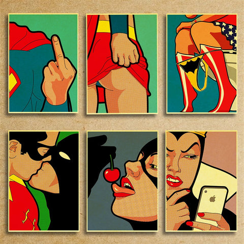 SUPERHERO POSTERS: Rude and Unusual Wall Art Prints