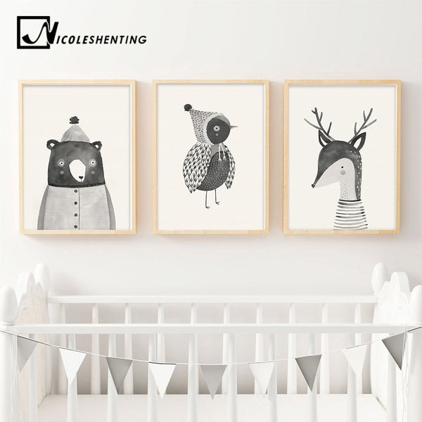 WOODLAND ANIMAL PRINTS: Nordic Children's Wall Art - Print Arcade USA
