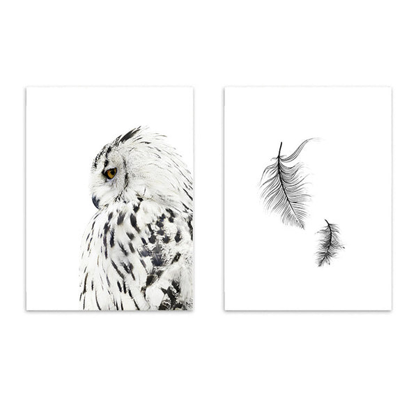 OWL AND FEATHER PRINTS: Canvas Minimalist Wall Art