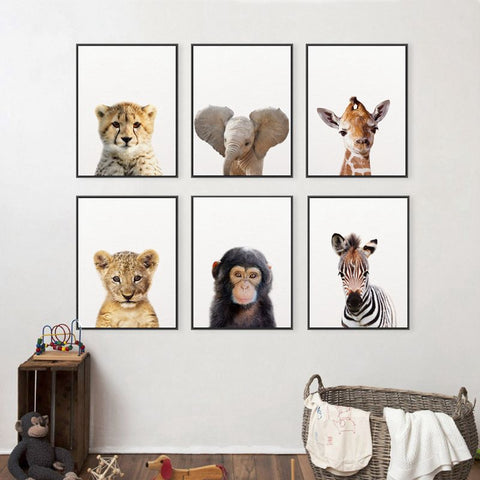 BIMBO ANIMAL ART: Cute Lion, Elephant, Giraffe Canvas Prints - Print Arcade USA