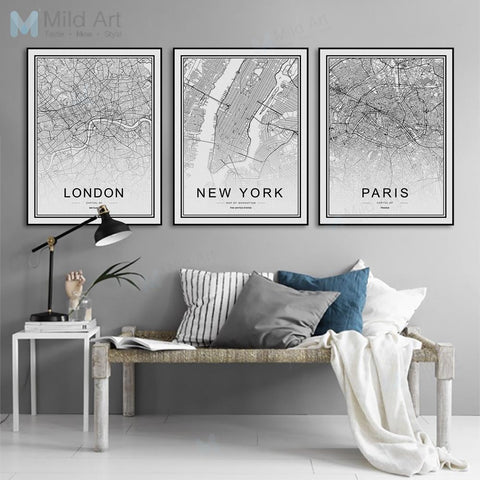 WORLD CITY MAPS: Canvas Wall Atlas Art - Print Arcade USA
