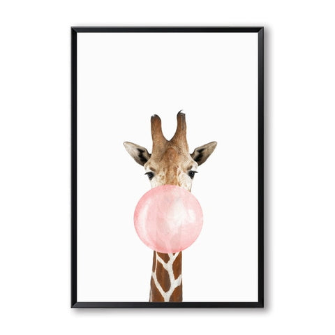 BUBBLEGUM ANIMAL PRINTS: Arte de pared en lienzo para niñas bebés - Print Arcade USA