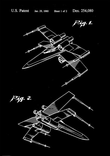 X-WING PRINT: Star Wars Toy Patent Design Poster