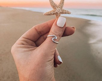 Gold Tranquility Ocean Wave Ring