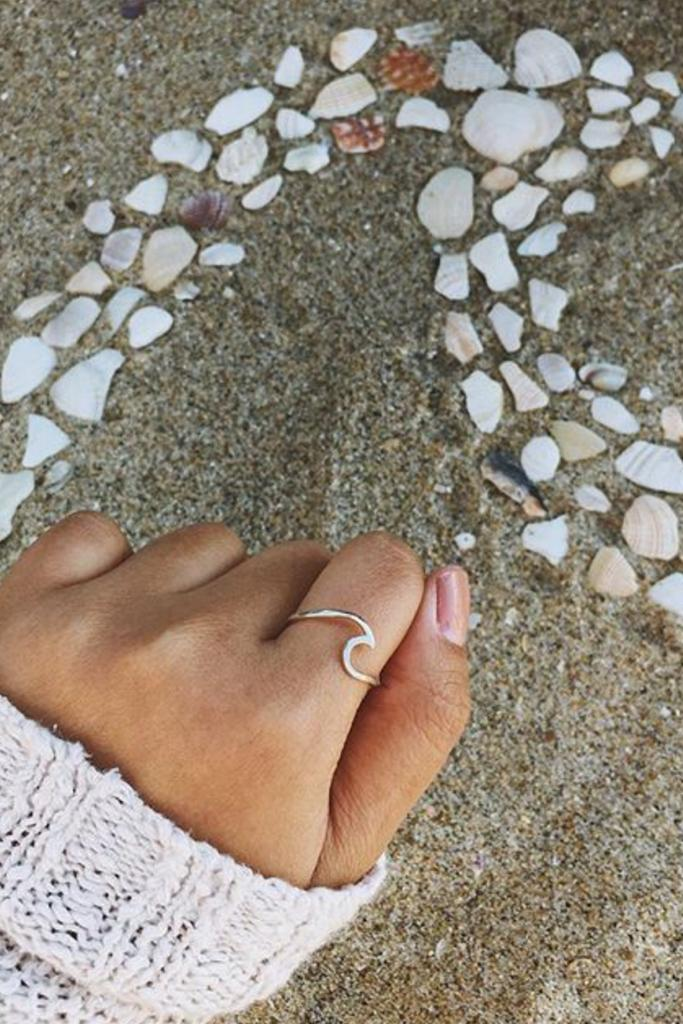 Silver Tranquility Ocean Wave Ring