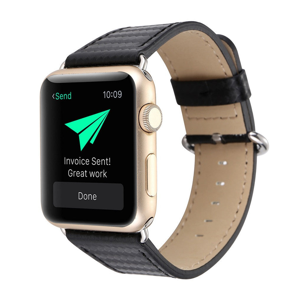 Carbon Fiber Leather Strap Replacement Watch Band For Apple Watch - Gold Luxury Timepiece Co.