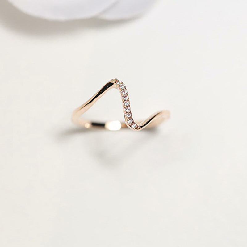 Diamond Studded Wave Ring