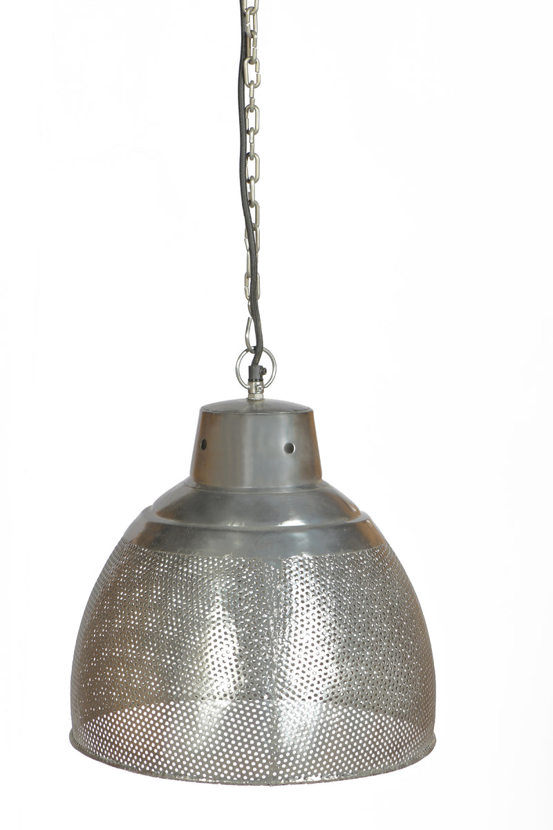 Riva Small - Zinc - Perforated Iron Dome Pendant Light