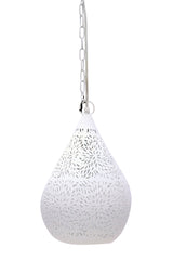 Aquarius Small - White - Perforated Teardrop Pendant Light