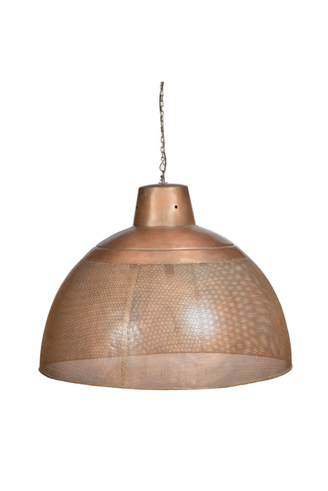 Riva Extra Large - Antique Copper - Perforated Iron Dome Pendant Light