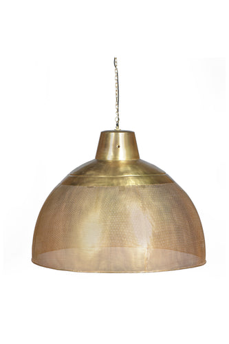 Riva Extra Large - Antique Brass - Perforated Iron Dome Pendant Light