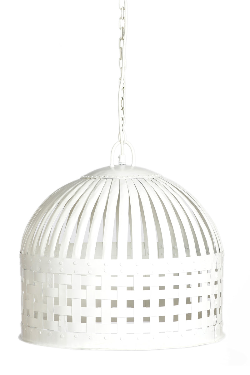 Esch Medium - White - Woven Iron Strips Pendant Light