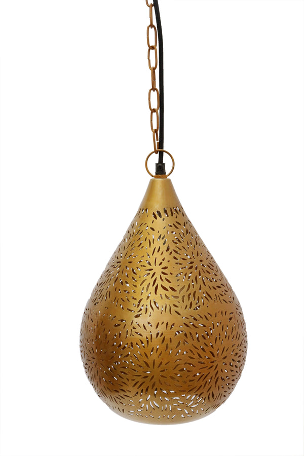 Aquarius Small - Brass - Perforated Teardrop Pendant Light