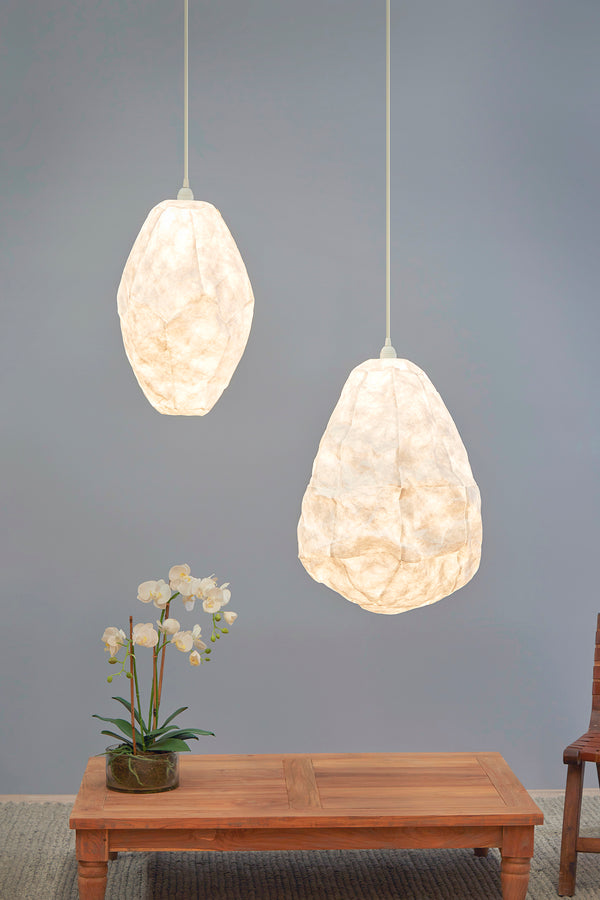 Nimbus - White - Tall Oval Cloud Paper Pendant Light
