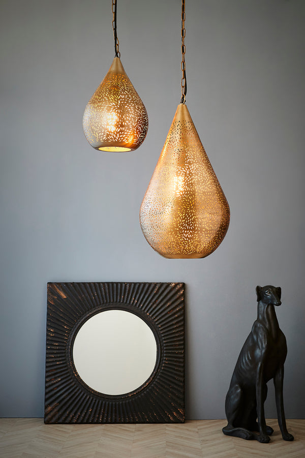 Aquarius Medium - Brass - Perforated Teardrop Pendant Light