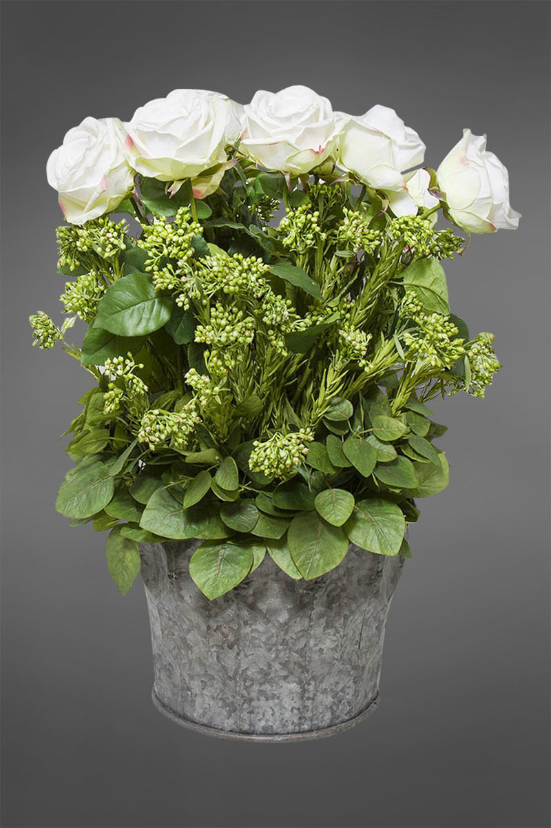 Rose Arrangement Large - White - 65cm Tall Artificial Flowers Potted in Tin