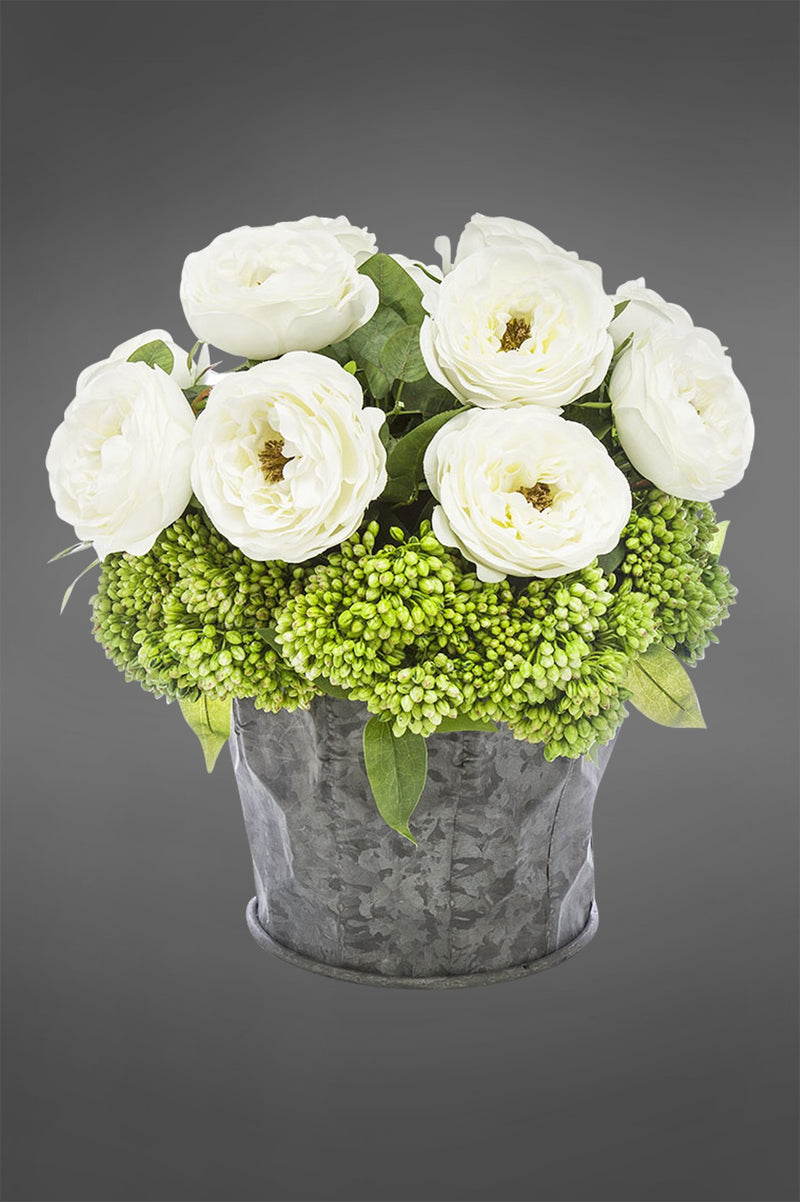Rose Arrangement Medium - White - 37cm Tall Artificial Flowers Potted in Tin