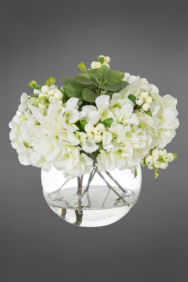 Hydrangea Arrangement - White - 32cm Tall Artificial Flowers in Water in Glass Bowl