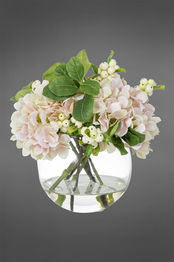 Hydrangea Arrangement - Light Pink - 32cm Tall Artificial Flowers in Water in Glass Bowl