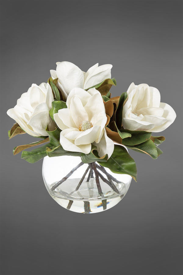 Magnolia  Arrangement - White - 40cm Tall Artificial Flowers in Water in Glass Bowl