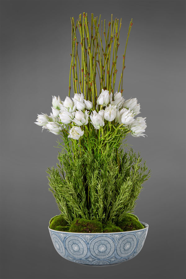 Blushing Bride Arrangement - Green - 48cm Tall Artificial Plants in Blue & White Ceramic Bowl