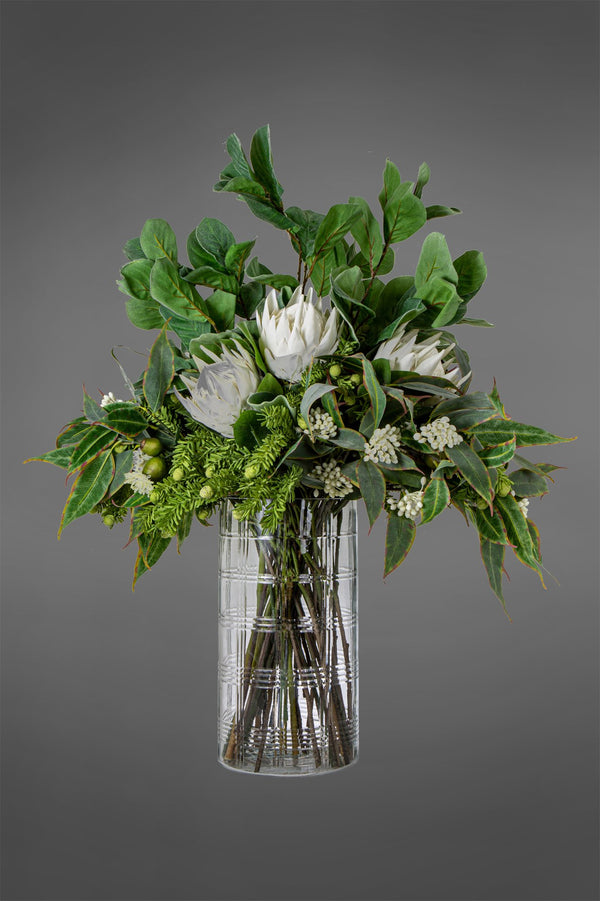 Protea - White/Green - 50cm Tall Artificial Flowers in Water in Glass Vase