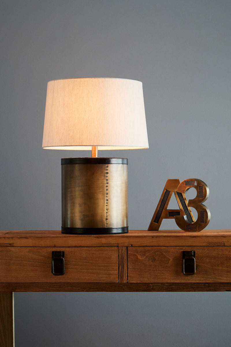 Admiralty Large - Leather Top Drum Table Lamp - Antique Brass