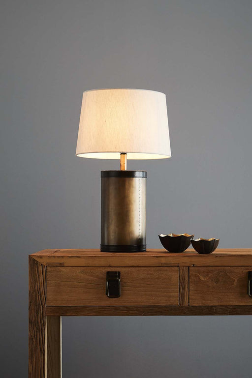 Admiralty Medium - Leather Top Drum Table Lamp - Antique Brass