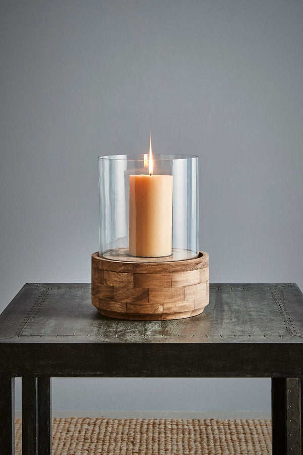 Amalfi Small - Dark Natural/Clear Glass - Glass and Wood Hurricane Lamp