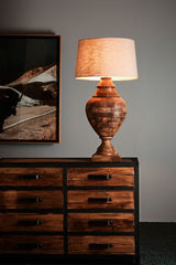 Amphora Large - Dark Natural - Turned Wood Urn Table Lamp