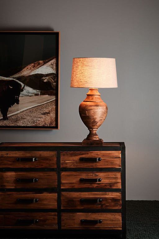 Amphora Medium - Weather Barn - Turned Wood Urn Table Lamp