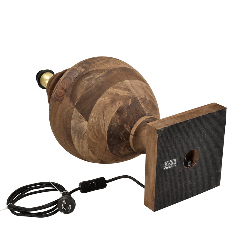 Amphora Medium - Dark Natural - Turned Wood Urn Table Lamp